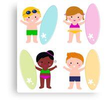 Summer multicultural surfing kids Canvas Print