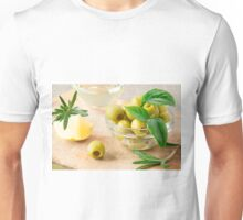 Glass cup with green pitted olives decorated with herbs Unisex T-Shirt