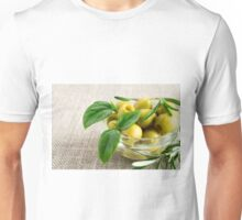 Pitted olives with green leaves and rosemary Unisex T-Shirt