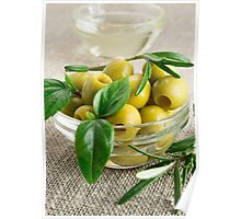 Pitted olives with green leaves and rosemary Poster