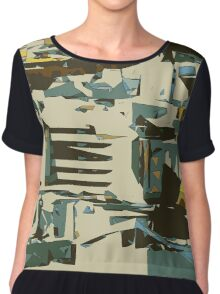 green brown yellow blue drawing abstract background Chiffon Top