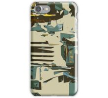 green brown yellow blue drawing abstract background iPhone Case/Skin