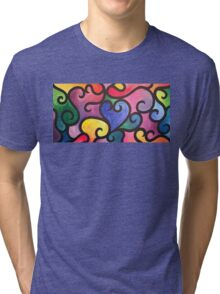 Abstract Heart Painting Tri-blend T-Shirt