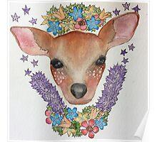 Woodland Deer Illustration Poster