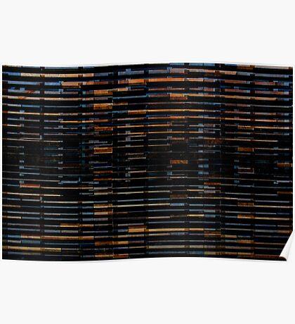 Vintage dark wood texture background Poster