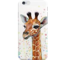 Baby Giraffe Watercolor Painting iPhone Case/Skin