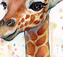 Baby Giraffe Watercolor Painting Sticker
