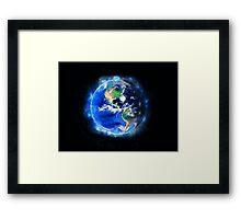 Planet Earth American World Globe Framed Print