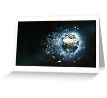 Planet Earth Pixelated Virtual Reality Greeting Card