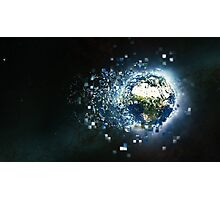 Planet Earth Pixelated Virtual Reality Photographic Print