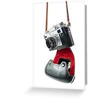 camera in red-black case Greeting Card