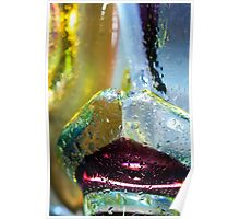 Abstract background. Glass and drops of water. Poster