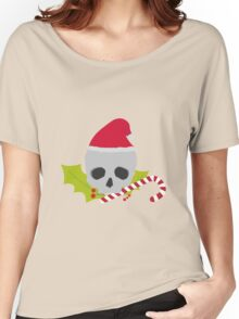 Chirstmas Skull with candy cane Women's Relaxed Fit T-Shirt