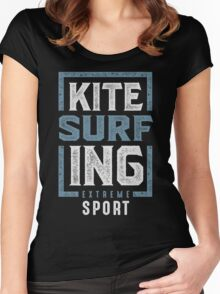 Kitesurfing Typography Women's Fitted Scoop T-Shirt