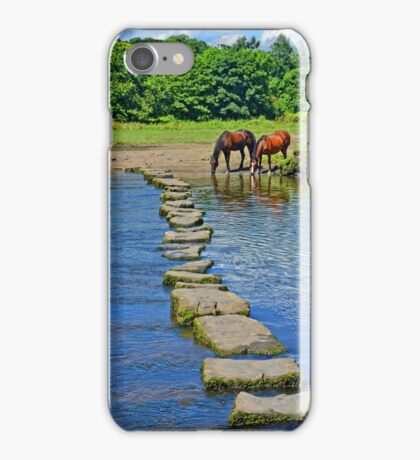 2 Horses at Famous Ogmore Stepping Stones (Wales) iPhone Case/Skin