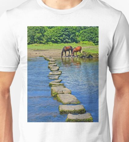 2 Horses at Famous Ogmore Stepping Stones (Wales) Unisex T-Shirt