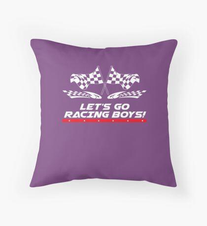 Let's Go Racing Boys Checkered Flag  Throw Pillow