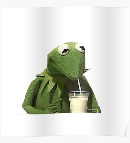 Kermit Drinks Milk Poster