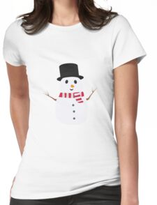 Happy Snowman with winterscarf Womens Fitted T-Shirt