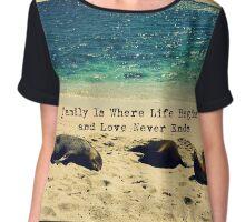 Family quote beach ocean sea lions Chiffon Top