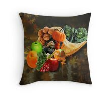 HORN OF PLENTY WITH FALLING LEAVES -  PILLOW AND OR TOTE BAG Throw Pillow