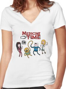 Medicine Time! Women's Fitted V-Neck T-Shirt