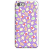 Christmas Cookies Pattern Design (Purple) iPhone Case/Skin