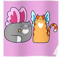 Fairy Tabby and Tuxedo Cat Poster