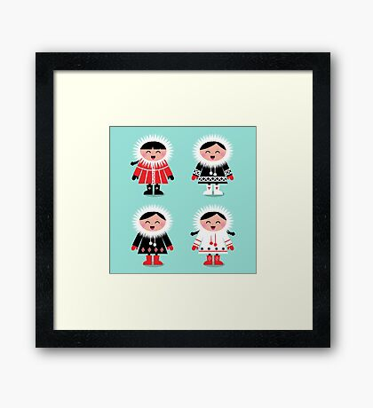 Happy eskimo children in vintage style : Ice blue Framed Print