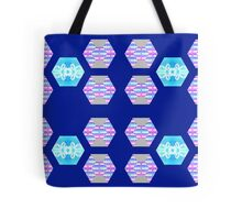 Fun with Hexagons Stripes with Floral on Midnight Blue Background Tote Bag