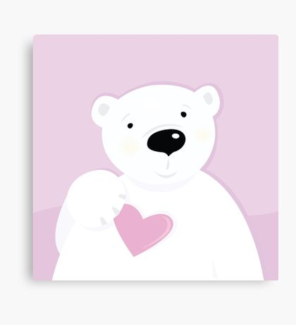 Cute little Polar bear with Heart : pink and white Canvas Print
