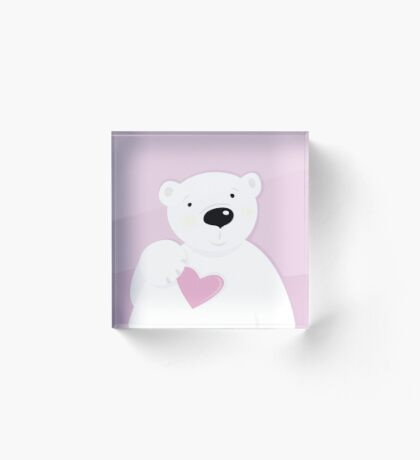 Cute little Polar bear with Heart : pink and white Acrylic Block