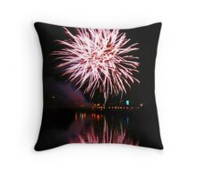 Purple fireworks over the river Throw Pillow