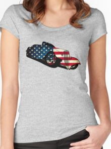 classic car flag design Women's Fitted Scoop T-Shirt