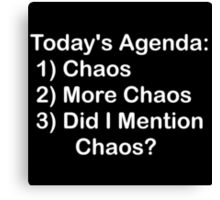 Today's Agenda: Chaos Canvas Print