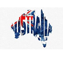 Australia Typographic World Map Photographic Print