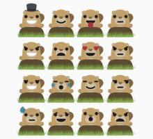 Mole Emoji 16 Different Facial Expression Kids Tee