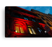 City Night Walks - the Red Facade Canvas Print