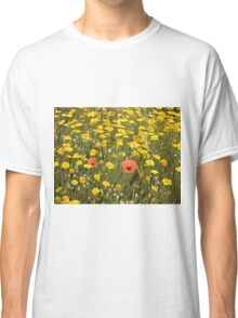 Poppies & daisies on El Camino, Spain Classic T-Shirt