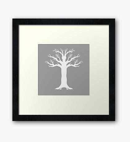 Wintry Tree Silhouette - White Framed Print
