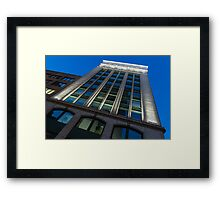 City Night Walks – White, Green and Blue Facade Framed Print