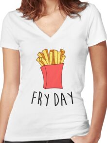 Fry Day Women's Fitted V-Neck T-Shirt