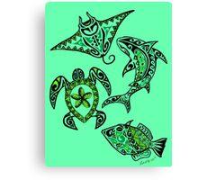 Hawaiian Sealife Green Canvas Print