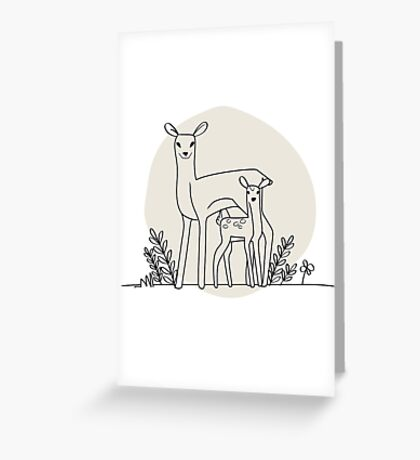 A doe and her fawn (also available in blue) Greeting Card