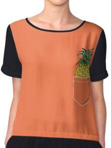 Pocket Pineapple Chiffon Top