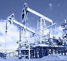 Pump jack on a oilfield. Toned. by bashta