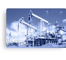 Pump jack on a oilfield. Toned. Canvas Print