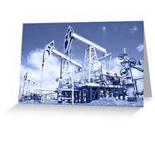Pump jack on a oilfield. Toned. Greeting Card