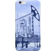 Pump jack and oil refinery. Toned. iPhone Case/Skin