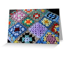 Multicoloured Knitted Cot Blanket Greeting Card